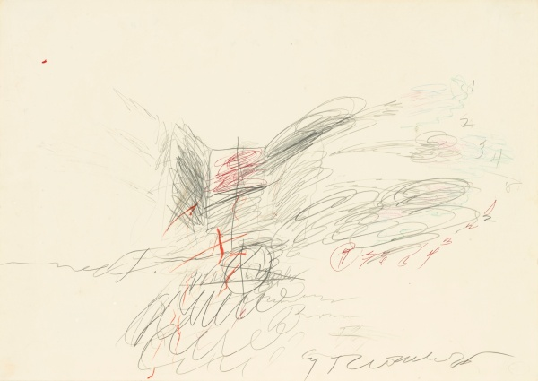 Lot 53. CY TWOMBLY, 1928 - 2011, UNTITLED signed and dated 1963; signed and dedicated on the reverse pencil and crayon on paper: 19 3/4 x 27 1/2 in. 50 x 70 cm. Estimate: $300,000-400,000.