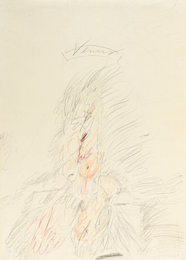 Lot 57. CY TWOMBLY, 1928 - 2011, VENUS titled; signed and dated Rome 1962 on the reverse pencil, colored pencil, and watercolor on paper: 27 1/2 x 19 1/2 in. 70 x 50 cm. Estimate: $350,000-450,000.
