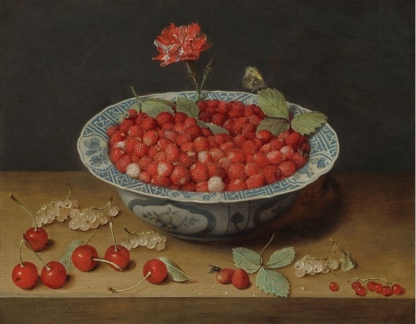 Jacob van Hulsdonck (1582 - 1647) Wild Strawberries and Carnation  in a Wan-Li Bowl, c. 1620 Oil on Copper - 28.3 × 36.2 cm Washington, National Gallery of Art