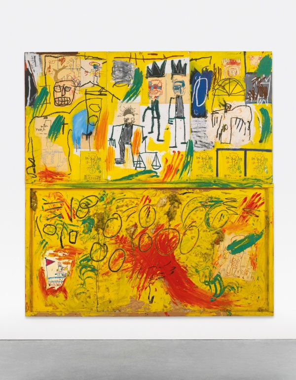 Lot 10. JEAN-MICHEL BASQUIAT, 1960 - 1988, UNTITLED (YELLOW TAR AND FEATHERS) acrylic, oilstick, crayon, paper collage and feathers on joined wood panels: 96 1/2 x 90 1/4 in. 245.1 x 229.2 cm. Executed in 1982. Estimate: $15-20 million.