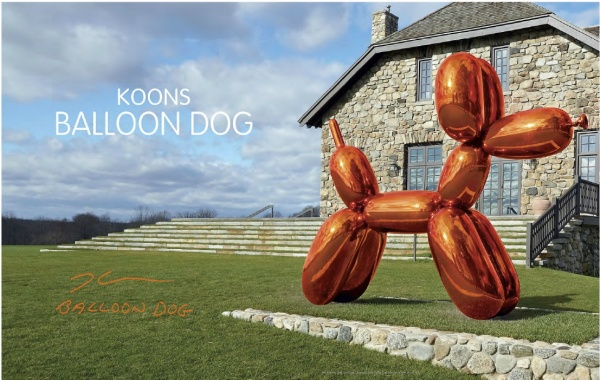 Lot 12. Jeff Koons (B. 1955)  Balloon Dog (Orange)  signed and dated 'Jeff Koons 1994-2000' (on the underside)  mirror-polished stainless steel with transparent color coating  121 x 143 x 45 in. (307.3 x 363.2 x 114.3 cm)  Executed in 1994-2000. This work is one of five unique versions (Blue, Magenta, Orange, Red, Yellow).  Estimate: $35-55 million.