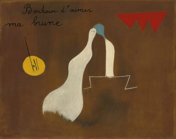 Lot 13. JOAN MIRÓ, 1893 - 1983, BONHEUR D'AIMER MA BRUNE Signed Miró and dated 1925 (lower right) Oil on canvas: 28 3/4 by 36 1/4 in., 73 by 92 cm Painted in 1925. Estimate: $9 - 12 million.