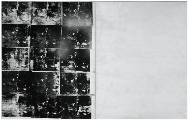 Lot 16. ANDY WARHOL 1928 - 1987 SILVER CAR CRASH (DOUBLE DISASTER) left: signed twice and dated 63 on the overlap right: signed and dated 63 on the overlap silkscreen ink and silver spray paint on canvas, in two parts overall: 105 x 164 1/8 in. 267.4 x 417.1 cm. Executed in Summer 1963. Estimate: In the region of $60 million.
