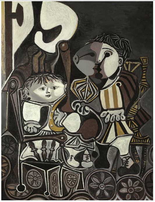 Lot 17. Pablo Picasso (1881-1973)  Claude et Paloma  dated and inscribed 'vendredi 20.1.50. Vallauris' (on the reverse)  oil and ripolin on panel  45 5/8 x 35 in. (116 x 89 cm.)  painted in Vallauris, 20 January 1950  Estimate: $ 9 - 12 million
