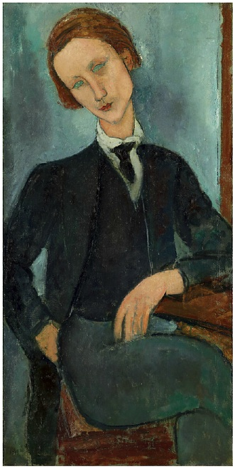 Lot 19. Amedeo Modigliani (1884-1920)  Monsieur Baranowski  signed 'Modigliani' (lower left)  oil on canvas  43¾ x 21 5/8 in. (112 x 56 cm.)  Painted in 1918  Estimate: $25 - 5 million.
