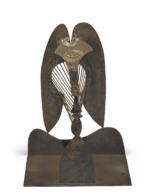 Lot. 21 Pablo Picasso (1881-1973)  Tête (Maquette pour la sculpture en plein air du Chicago Civic Center) cut and welded steel  height: 41½ in. (105.5 cm.); width: 27½ in. (70 cm.); depth: 17¾ in. (45 cm.) conceived in Mougins, 1962-1964 and executed in 1964; unique  Provenance Estate of the artist. Marina Picasso (by descent from the above). Jan Krugier, acquired from the above. Estimate: $25 - 35 million.