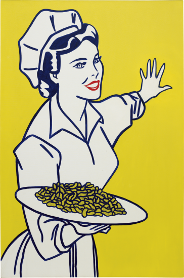 "Lot 22. ROY LICHTENSTEIN, Woman with Peanuts, 1962 oil and graphite on canvas: 69 x 45 3/4 in. (175.3 x 116.2 cm.) Signed and dated ""rf Lichtenstein '62"" on the reverse. Estimate $10,000,000 - 15,000,000"