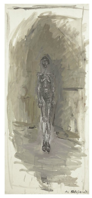 Lot 23. Alberto Giacometti (1901-1966)  Nu debout  signed and dated 'Alberto Giacometti 1958' (lower right)  oil on canvas  61 x 27½ in. (155 x 69.7 cm.)  painted in 1958  Estimate: $8 - 12 million