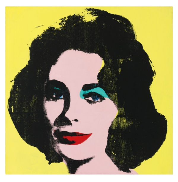 Lot 26. ANDY WARHOL, 1928 - 1987, LIZ #1 (EARLY COLORED LIZ) signed on the stretcher acrylic and silkscreen ink on canvas: 40 x 40 in. 101.6 x 101.6 cm. Executed in October - November 1963. Estimate: $20-30 million.