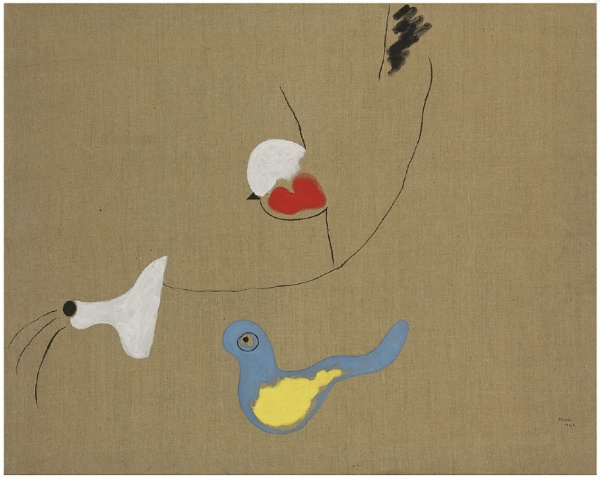 Lot 31. Joan Miró (1893-1983)  Peinture--L'Oiseau  signed and dated 'Miró. 1926.' (lower right); signed and dated again 'Joan Miró 1926' (on the reverse) oil on canvas  28¾ x 36¼ in. (73.2 x 92.2 cm.)  painted in 1926  Estimate: $8 - 12 million
