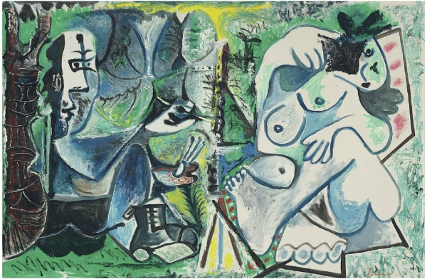 Lot 31. Pablo Picasso (1881-1973)  Le peintre et son modèle dans un paysage  signed 'Picasso' (lower right); dated '15.6.63. 24.7. 25.26.31. 7.8.63. 12.8. 19.8. 27. 19.9.63.' (on the reverse) oil on canvas  51 1/8 x 76¾ in. (130 x 194.8 cm.)  Painted on 15 June-19 September 1963  Estimate: $25 - 35 million.