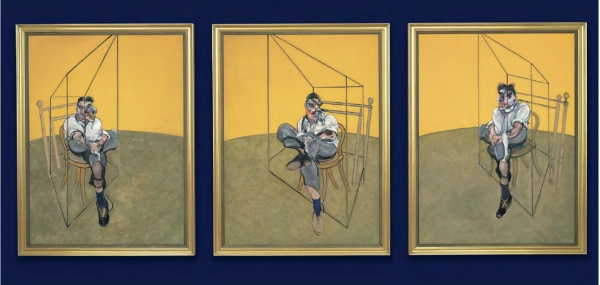 Lot 32. Francis Bacon (1909-1992)  Three Studies of Lucian Freud  titled and dated '3 studies for portrait Lucian Freud 1969' (on the reverse of the center panel) oil on canvas, in 3 parts  each: 78 x 58 in. (198 x 147.5 cm.)  Painted in 1969.  Estimate: In the region of $86 million.