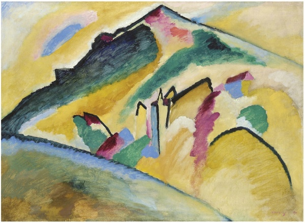 Wassily Kandinsky (1866-1944)  Herbstlandschaft  signed and dated 'KANDINSKY 1911.' (lower right)  oil on canvas  28 1/8 x 39 1/8 in. (71.6 x 99.3 cm.)  painted on 31 January 1911  Provenance Nierendorf Gallery, New York. Mies van der Rohe, Chicago (acquired from the above, 1941). Lora F. Marx, Chicago (gift from the above, circa 1942); sale, Sotheby's, New York, 9 May 1989, lot 33. Jan Krugier, acquired at the above sale. Estimate: $20 - 25 million.