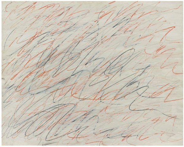 Lot 42. CY TWOMBLY, 1928 - 2011, UNTITLED oil, graphite and colored crayon on paper laid on canvas: 27 1/2 x 34 5/8 in. 70 x 88 cm. Executed in 1971. Estimate: $2.5-3.5 million.