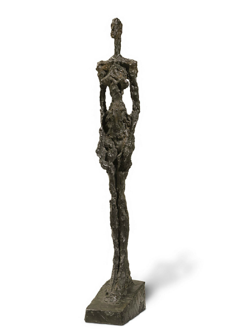 Lot 45. Alberto Giacometti (1901-1966)  Femme de Venise I  signed and numbered 'Alberto Giacometti 2/6' (on the left side of the base); inscribed with foundry mark 'SUSSE FONDEUR PARIS' (on the back of the base) bronze with dark brown patina  height: 41¼ in. (104.8 cm.)  conceived in 1956 and cast in 1957  Estimate: $9 - 12 million
