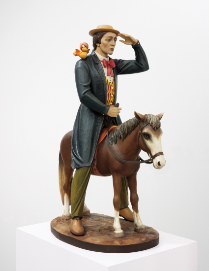 "Lot 5. JEFF KOONS, Buster Keaton, 1988 polychromed wood: 66 x 48 x 27 in. (167.6 x 121.9 x 68.6 cm.) This work is numbered and dated ""1/3 '88"" on the underside. This work is number 1 from an edition of 3 plu ... Estimate $4,000,000 - 6,000,000."