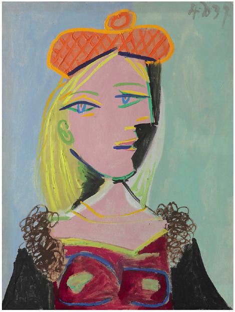 Lot 5. Pablo Picasso (1881-1973)  Femme au béret orange et au col de fourrure (Marie-Thérèse)  dated '4 D 37' (upper right)  oil on canvas  24 1/8 x 18 1/8 in. (61.1 x 46 cm.)  Painted on 4 December 1937  Estimate: $8 - 12 million.