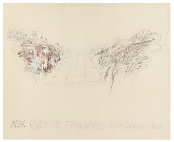 Lot 56. CY TWOMBLY, 1928 - 2011, BLUE RIDGE MOUNTAINS TRANSFIXED BY A ROMAN PIAZZA titled oil paint, wax crayon and lead pencil on canvas: 58 1/2 x 71 in. 148.6 x 180.3 cm. Executed in 1962. Estimate: $2.5-3.5 million.