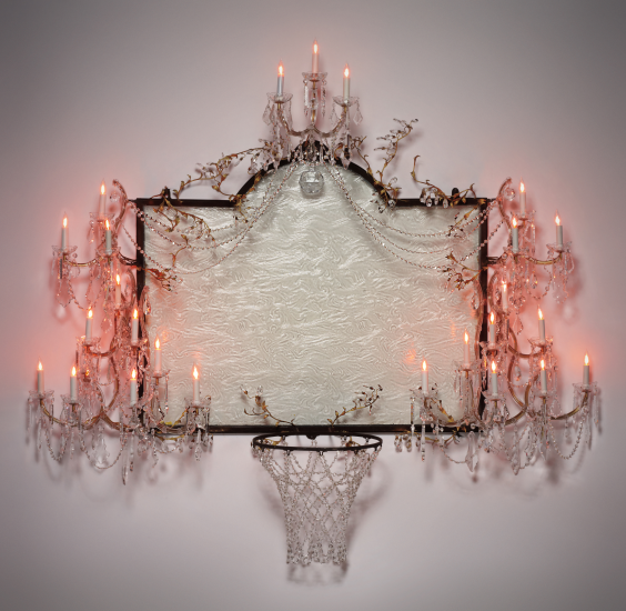 Lot 7. DAVID HAMMONS, Untitled, 2000 crystal, brass, frosted glass, light fixtures, hardware and steel: 77 x 87 x 25 in. (195.6 x 221 x 63.5 cm.) Executed in 2000. This work is unique from a series of 3. Estimate $5,000,000 - 7,000,000