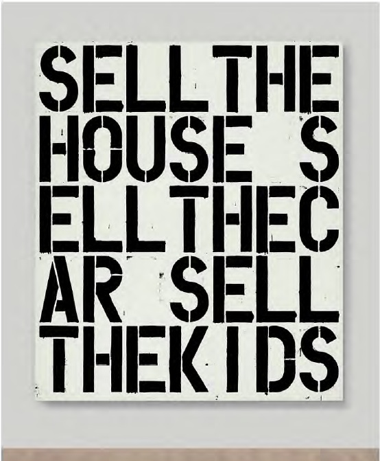 Lot 8. Christopher Wool (B. 1955)  Apocalypse Now  signed, titled, numbered and dated 'APOCALYPSE NOW (P.50) WOOL 1988' (on the reverse) alkyd and flashe on aluminum and steel  84 x 72 in. (213.4 x 182.9 cm.)  Painted in 1988.  Estimate: $15-20 million.