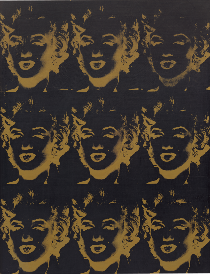 "Lot 8. ANDY WARHOL, Nine Gold Marilyns (Reversal Series), 1980 silkscreen and acrylic on canvas: 54 1/8 x 41 3/4 in. (137.5 x 106 cm.) Signed, titled and dated ""9 Gold Marilyns, Andy Warhol, 1980 Reversal Series"" along the overlap. Estimate $8,000,000 - 12,000,000"