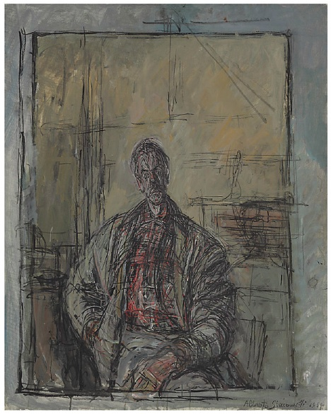 Lot 9. Alberto Giacometti (1901-1966)  Diego en chemise écossaise  signed and dated 'Alberto Giacometti 1954' (lower right)  oil on canvas  31 7/8 x 25½ in. (81.1 x 64.9 cm.)  Painted in 1954  Estimate: $30 - 50 million