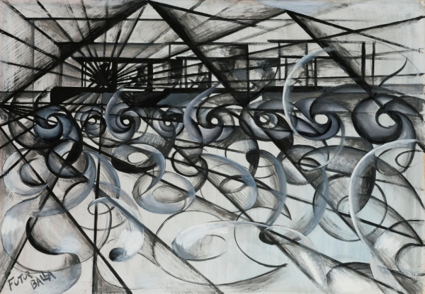 Lot 9. GIACOMO BALLA, 1871 - 1958, AUTOMOBILE IN CORSA, Signed Futur Balla (lower left); signed Futur Balla and titled on the reverse Oil and ink on paper laid down on board: 29 by 41 in., 74 by 104 cm Painted in 1913.
