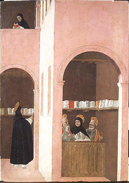 Bartolomeo degli Erri (Italian, Modena, active 1460–79), Saint Thomas Aquinas Aided by Saints Peter and Paul Tempera on wood: 17 x 12 in. (43.2 x 30.5 cm) Metropolitan Museum of Art: Fletcher Fund, 1923, Accession Number: 23.140