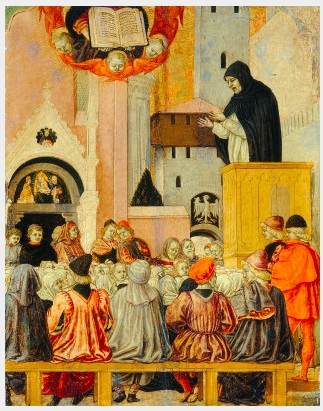 Erri, Agnolo degli (painter), Emilian, active 1440s - 1497 A Dominican Preaching c. 1470 tempera on panel overall: 43 x 34 cm (16 15/16 x 13 3/8 in.) framed: 65.1 x 55.6 x 7.6 cm (25 5/8 x 21 7/8 x 3 in.) Gift of Frieda Schiff Warburg in memory of her husband, Felix M. Warburg1941.5.2