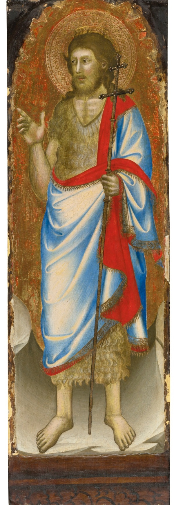 Lot 157. PUCCIO DI SIMONE ACTIVE IN FLORENCE CIRCA 1345-1365 SAINT JAMES THE LESSER; SAINT JOHN THE BAPTIST one of a pair, both tempera on panel, gold ground each: 99.7 by 34.6 cm.; 39 1/4  by 13 5/8  in. Estimate: 100,000-150,000.