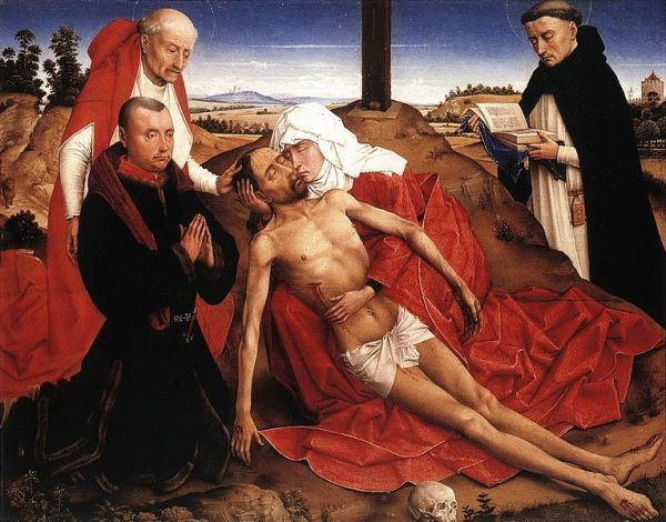 Pietà, c. 1464, workshop of Rogier van der Weyden, National Gallery , London. Oil on panel: 14 x 17.7 inches.