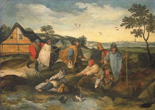 Christie's, December 8, 2005, Lot 13. Marten van Cleve (Antwerp c. 1527-before 1581)  The Blind leading the Blind  oil on panel  29½ x 41¼ in. (74.9 x 104.8 cm.)  Estimate: £50,000 - £70,000 ($86,700 - $121,380). This lot sold for £153,600 ($266,342).