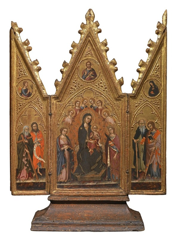 Master of The Richardson Triptych (Siena c. 1370-1415) Enthroned Virgin and Child with Angels and Saints; the Redeemer; the Annunciation. Tempera on panel. 30½ x 229/16 in, 77.5 x 57.4 cm open. (Moretti Fine Art)