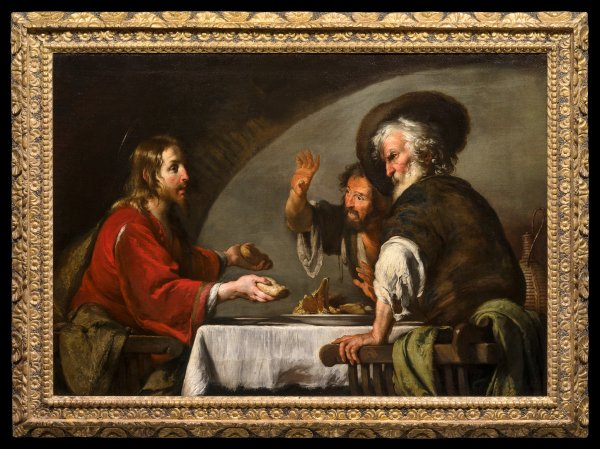 Bernardo Strozzi (Genoa 1581-1644 Venice) The Supper at Emmaus oil on canvas, unframed 52¼ x 74¼ in. (132.7 x 188.5 cm.) Following restoration.