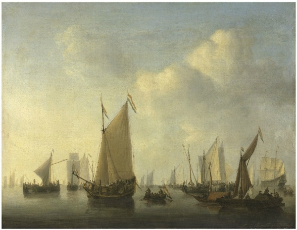 Lot 15. Willem van de Velde II (Leiden 1633-1707 London) A States yacht under sail and a pont with sprit-sail hauled up and other ships in a calm signed 'W V V..de' (lower right, on the ship) oil on canvas 20 7/8 x 26¾ in. (53 x 68 cm.) Estimate: £400,000 – £600,000 ($640,800 - $961,200). Click on image to enlarge.
