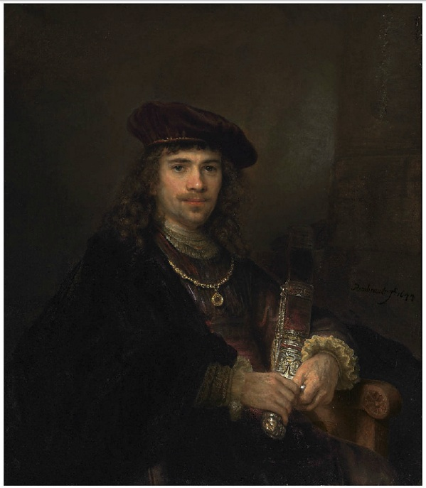 Lot 16. Rembrandt Harmensz. van Rijn (Leiden 1606-1669 Amsterdam) and Studio Man with a Sword signed and dated 'Rembrandt·f. 1644' (lower right) oil on canvas 40¼ x 35 in. (102.3 x 88.5 cm.) Estimate: £2,000,000 – £3,000,000 ($3,204,000 - $4,806,000).