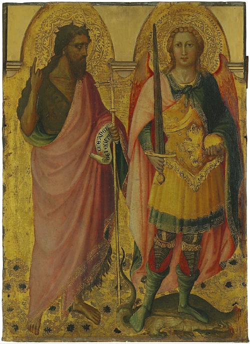 Lot 18. Lorenzo di Bicci (Florence c.1350-?1427) Saint John the Baptist and Saint Michael - left panel of the main tier of a polyptych inscribed 'ECCE· ANGN / DEI · QUI TO' (centre, on the scroll) on gold ground panel 31¾ x 23 in. (80.6 x 58.3 cm.) Estimate: £200,000 – £300,000 ($320,400 - $480,600).