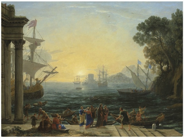 Lot 21. Claude Gellée, called Claude Lorrain (Champagne 1600-1682 Rome) A Mediterranean port at sunrise with the Embarkation of Saint Paula for Jerusalem inscribed 'NOBMA. ROMANA ST PAVOLA IM- BARCHI PER GIERVSALEMME' (lower centre) oil on canvas 39¾ x 53¼ in. (100.9 x 135.2 cm.) in an English mid-18th century carved and gilded frame with pierced scallopshell cartouche centers Estimate: £3,000,000 – £5,000,000 ($4,806,000 - $8,010,000). Click on image to enlarge.