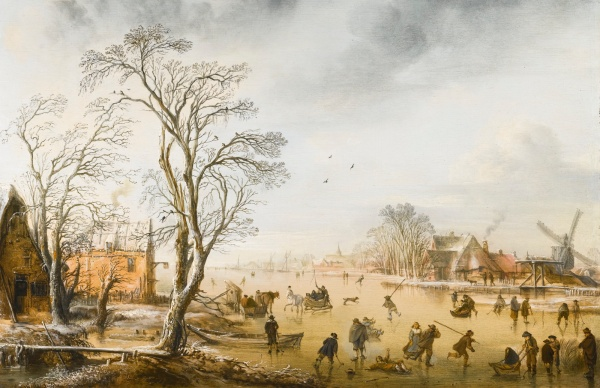 Lot 22. AERT VAN DER NEER AMSTERDAM CIRCA 1603/4 - 1677 A WINTER LANDSCAPE WITH SKATERS AND KOLF PLAYERS ON A FROZEN RIVER BY A VILLAGE signed with the artist's double monogram lower left: AV DN oil on oak panel 40 by 55 cm.; 15 3/4  by 21 3/4  in. Estimate: 2-3 million. click on image to enlarge