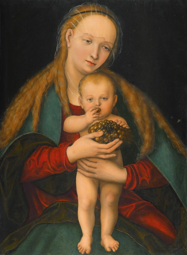 Lot 25. LUCAS CRANACH THE YOUNGER WITTENBERG 1515 - 1586 VIRGIN AND CHILD WITH A BUNCH OF GRAPES signed centre right with the artist's device of a winged serpent, in the style used after 1537, and inscribed on a label on the reverse in an old hand: Tabla original de Luca Cranach./ Lla... Muller/ Nacio en Cranach cliosesi...e barnberg nEn 1472, Nacio Murio/ en Weimar en 1552 Escu...Alemana/La firma del autur...convales y/ pintor del Duque de Savolla...de 1509. oil on beechwood panel 77.7 by 57.1 cm. : 30 5/8  by 22 1/2  in. Estimate: 800,000-1,200,000.