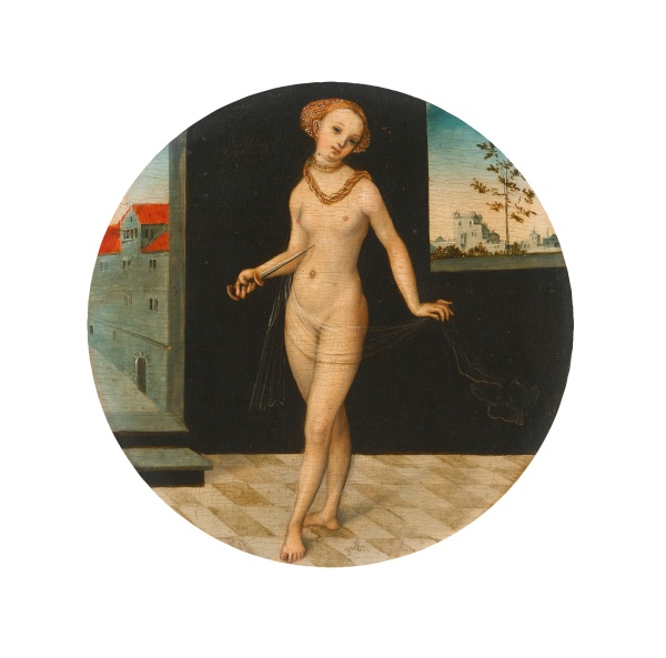 Lot 3. LUCAS CRANACH THE ELDER KRONACH 1472 - 1553 WEIMAR LUCRETIA signed with the winged serpent lower centre oil on hardwood (probably beech) panel, circular diameter: 14.9 cm.; 5 7/8  in. Estimate: 300,000-500,000.