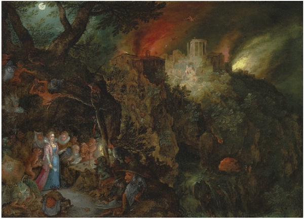 Lot 30. Jan Breughel I (Brussels 1568-1625 Antwerp) The Temptation of Saint Anthony oil on copper 8¼ x 11 3/8 in. (21 x 28.8 cm.) Estimate: £800,000 – £1,200,000 ($1,281,600 - $1,922,400). Click on image to enlarge.