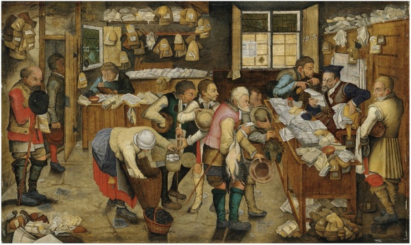 Lot 32. Pieter Brueghel II The Payment of the Tithes signed and dated 'P. BREVGHEL. 1626' (lower left) oil on panel 29 x 49 in. (75 x 124.5 cm) Estimate: £700,000 – £1,000,000 ($1,121,400 - $1,602,000). Click on image to enlarge.