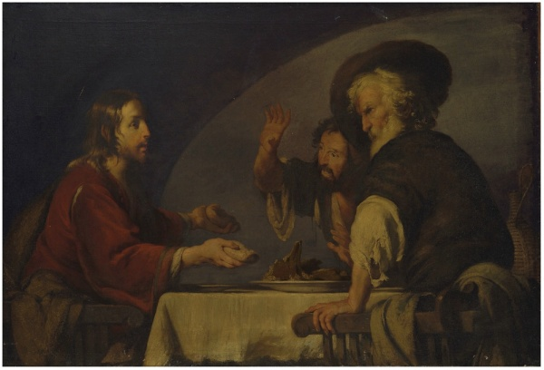 Lot 34. Bernardo Strozzi (Genoa 1581-1644 Venice) The Supper at Emmaus oil on canvas, unframed 52¼ x 74¼ in. (132.7 x 188.5 cm.) Estimate: £800,000 – £1,200,000 ($1,281,600 - $1,922,400). Click on image to enlarge.