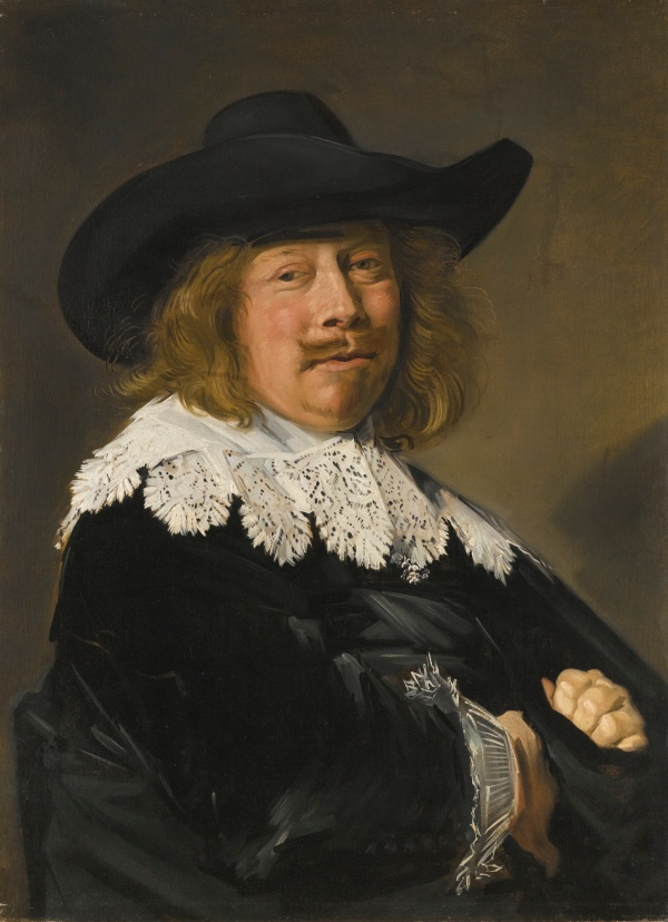 Lot 35. FRANS HALS ANTWERP 1581/5 - 1666 HAARLEM PORTRAIT OF A GENTLEMAN, HALF-LENGTH IN BLACK WITH LACE COLLAR AND CUFFS, AND WEARING A BROAD-BRIMMED BLACK HAT oil on canvas, in a magnificent German or Netherlandish boxwood mirror frame  79.5 by 58.5 cm.; 31 1/4  by 23 in. Estimate: 2-3 million.