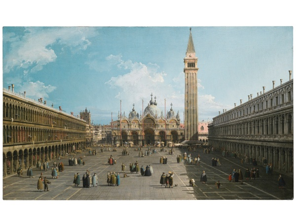 Lot 39. GIOVANNI ANTONIO CANAL, CALLED CANALETTO VENICE 1697 - 1768 VENICE, A VIEW OF PIAZZA SAN MARCO LOOKING EAST TOWARDS THE BASILICA; VENICE, THE GRAND CANAL LOOKING NORTH-EAST FROM THE PALAZZO DOLFIN-MANIN TO THE RIALTO BRIDGE One of a pair, both oil on canvas each: 46.5 by 77.1 cm.; 18 1/4  by 30 3/8  in. Estimate: 8-12 million.