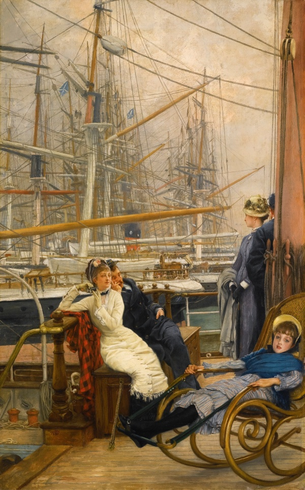 Lot 47. JAMES TISSOT 1836 - 1902 A VISIT TO THE YACHT (LA VISITE AU NAVIRE) signed l.l.: J.J Tissot oil on canvas 86.5 by 54cm.; 34 by 21¼in. Estimate: 2-3 million.
