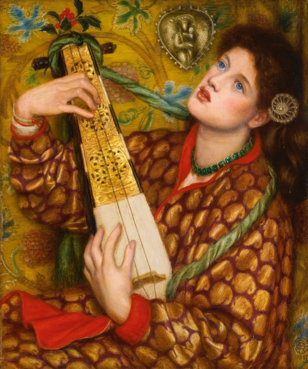 Lot 48. DANTE GABRIEL ROSSETTI 1828 - 1882 A CHRISTMAS CAROL signed with monogram and dated 1867 l.r., inscribed, signed and dated on the reverse: A Christmas Carol/ D.G. Rossetti 1867/ (oil) oil on panel 45.5 by 38cm., 18 by 15in. Estimate: 4-6 million.