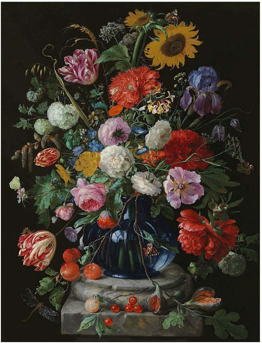 Lot 5. Jan Davidsz. de Heem (Utrecht 1606-1684 Antwerp) Tulips, a sunflower, an iris, anemone, hydrangeas, honeysuckle, willow catkins, carnations and other flowers in a glass vase on a marble pediment oil on canvas 37¼ x 28¾ in. (94.6 x 73 cm.) Estimate: £1,500,000 – £2,500,000 ($2,403,000 - $4,005,000)