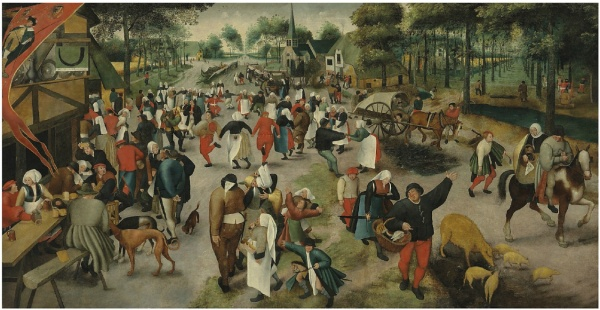 Lot 9. Marten van Cleve I (Antwerp c. 1527-1587) Saint George's Day: A village kermesse with figures dancing and merrymaking, others drinking before an inn at the sign of The Horn inscribed 'DIT IS • INDEN • HOREN' (upper right, on the inn sign) oil on canvas 54? x 106½ in. (138 x 270 cm.) Estimate: £200,000 – £300,000 ($320,400 - $480,600)